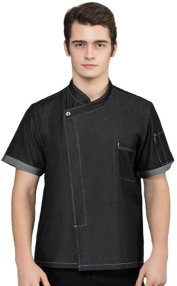Short Sleeve Unisex Stretch Denim Modern Fit Breathable Durable Classic Chefs Jacket Clothes Waiter Coat,XXXL