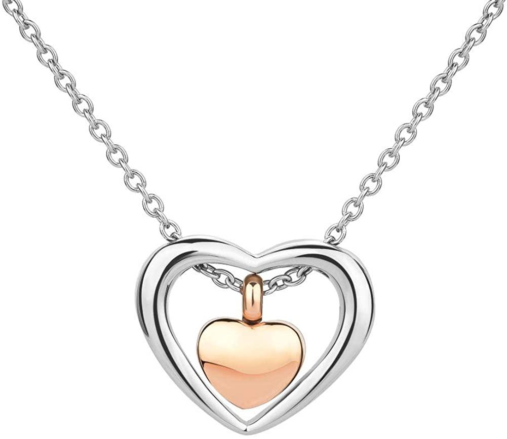 SexyMandala Heart Double Urn Necklace for Ashes Urn Jewelry Memorial Keepsake Pendant