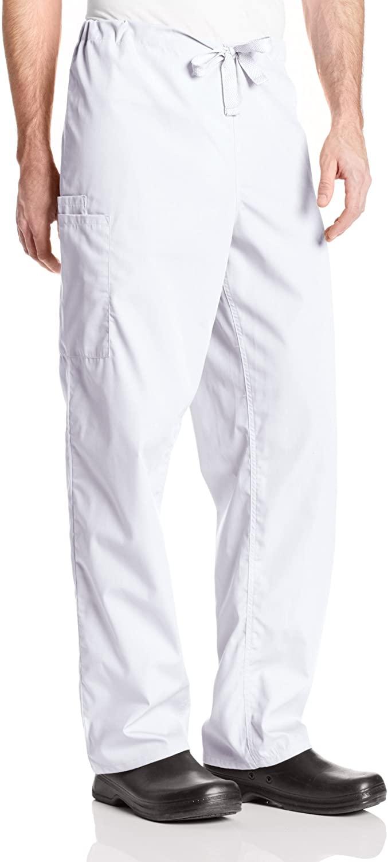 Cherokee Originals Unisex Drawstring Cargo Scrubs Pant, White, X-Small
