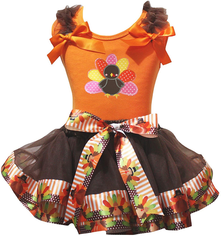 Petitebella Thanksgiving Turkey Orange Shirt Brown Turkey Petal Skirt Nb-8y