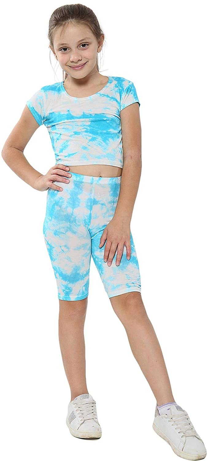 Kids Girls Crop Top & Cycling Short Blue Tie Dye Print Summer Outfit Sets 5-13 Y