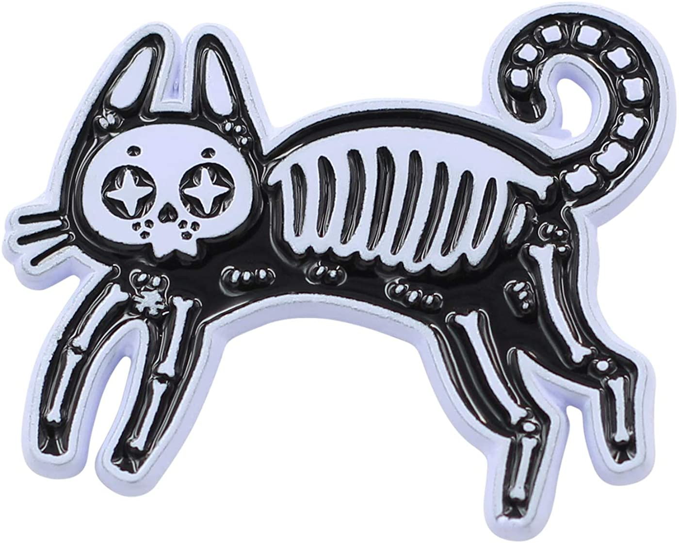 Real Sic Skeleton Cat Pin - Occult Black Cat Lapel Pin - Halloween Witch Enamel Pin Accessory for Jackets, Backpacks, Hats, Bags & Tops