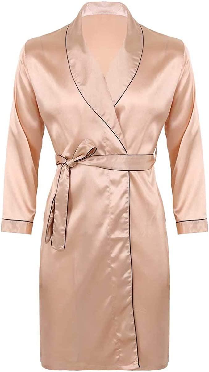 Agoky Mens Silky Satin Bathrobe Nightgown Casual Kimono Robe V Neck Long Sleeves Loungewear Sleepwear Pajamas