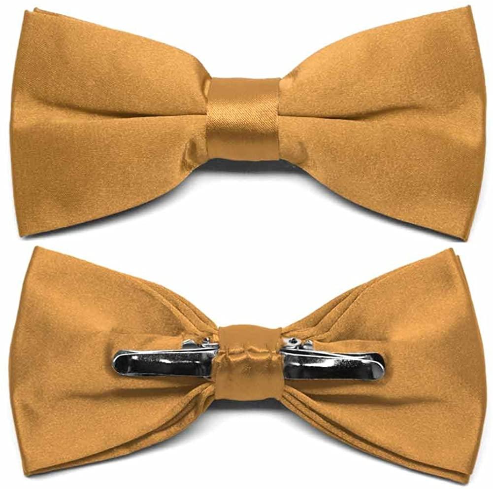 TieMart Antique Gold Clip-On Bow Tie