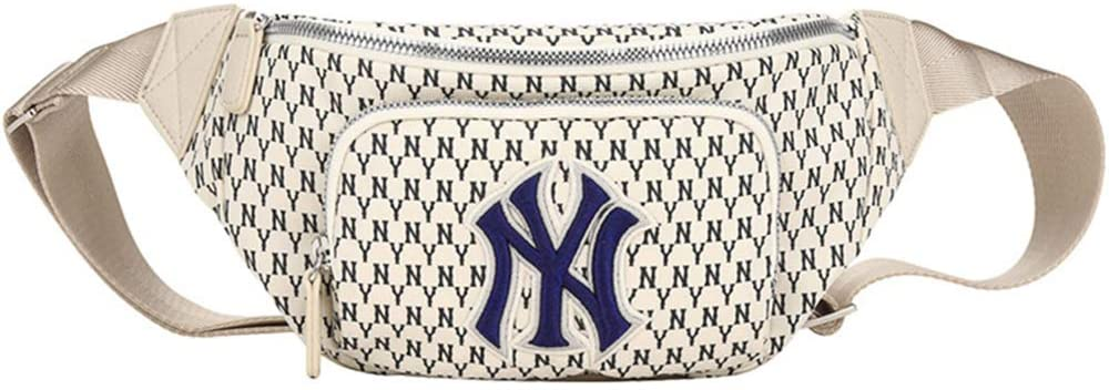 Baosale NY Fanny Pack Unisex Waist Bag Fashion Travel Pocket Chest Bag with Stretchy Strap Fit Yankees Belt Bags (Beige-Blue)
