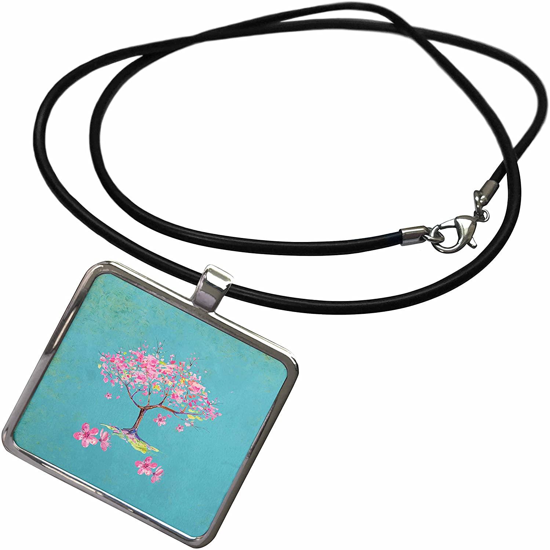 3dRose Uta Naumann Watercolor Illustration - Cherry Blossom Sakura Asian Flower Tree Illustration - Necklace with Rectangle Pendant (ncl_267101)