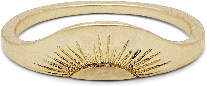 Pura Vida Gold-Plated Rising Sun Ring - Brass Base, Hammered Finish - Sizes 5-9