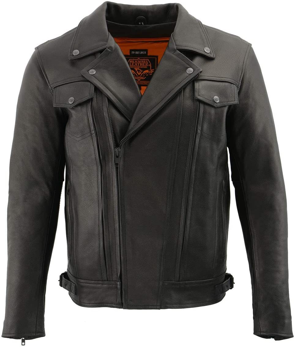 Milwaukee Leather LKM1760 Mens Black Leather Jacket with Utility Pockets and Gun Pockets - X-Large