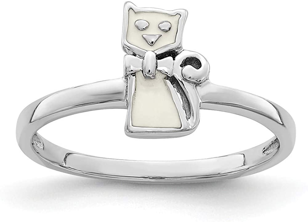 Solid 925 Sterling Silver Childs Enameled White Cat Ring Band Size 3