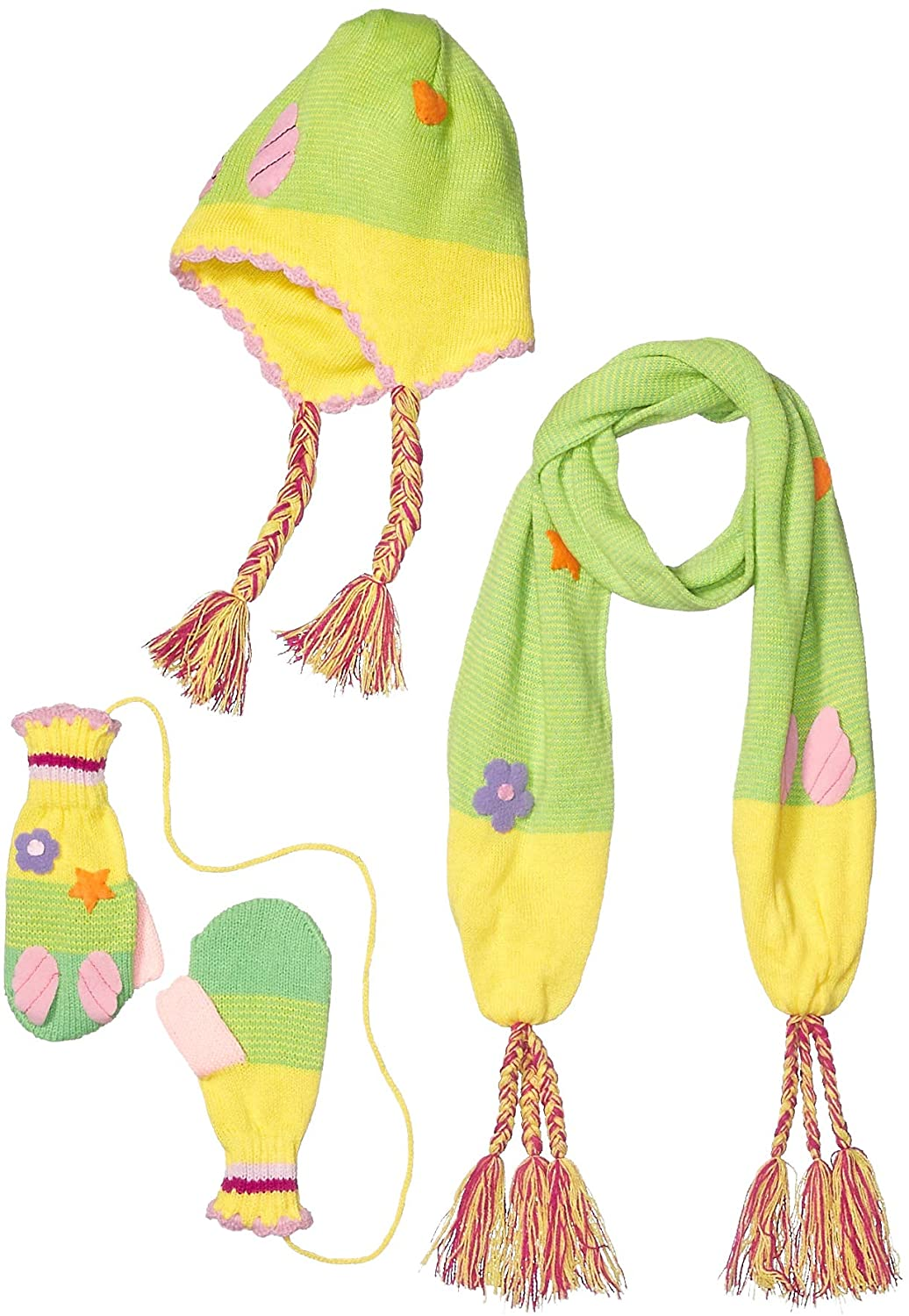 Kidorable Green/Yellow Soft Acrylic Fairy Hat/Scarf/Mitten Set for Girls w/Fun Fairy Wings