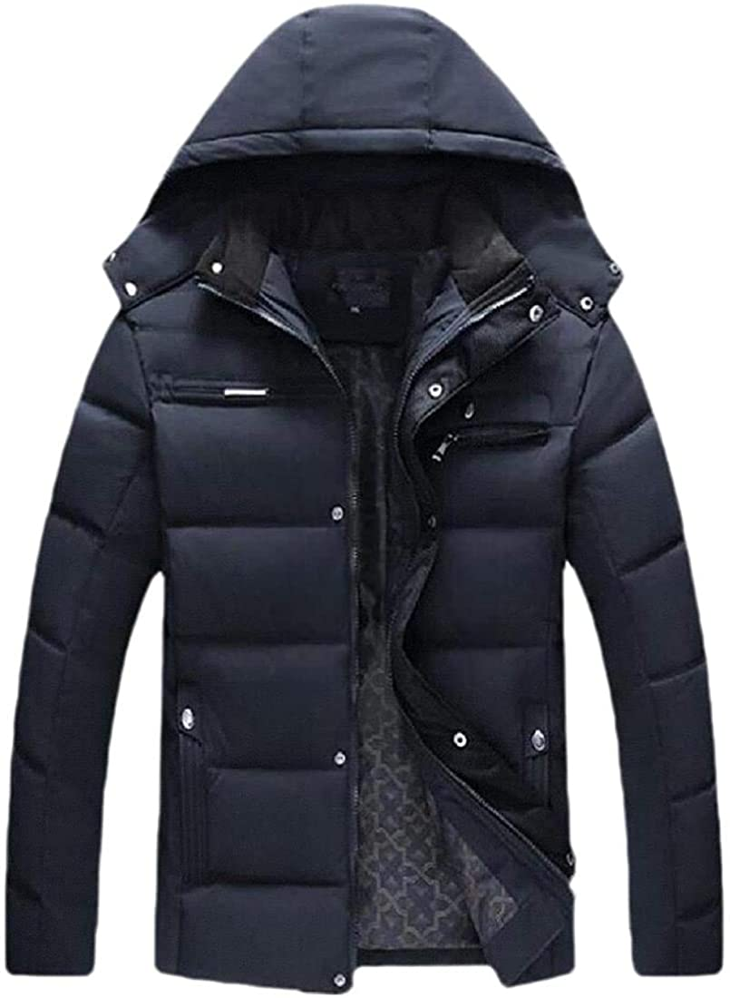 Fnbdyfjdsf Men Lightweight Water Resistant Hooded Quilted Poly Padded Puffer Jacket Coat