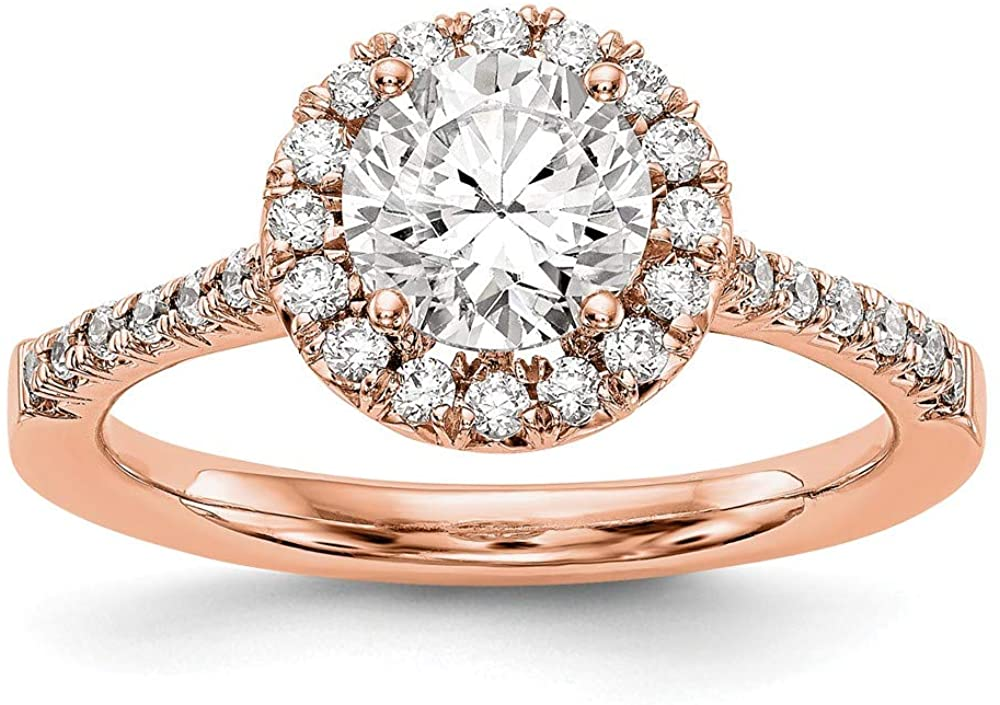 14K Rose Gold Ring Band 14kr Round Halo engagementLab Grown Diamond SI1 SI2, G H I, Size 8