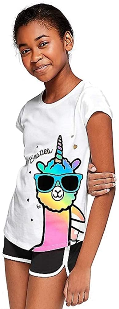 Justice Besties Forever Llamacorn Graphic Tee White