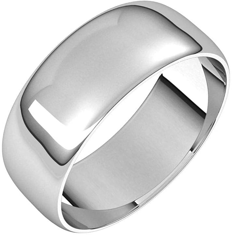 Tarnish Resistant Solid 925 Sterling Silver 7mm Half Round Ultra-Light Wedding Band Size 8.5
