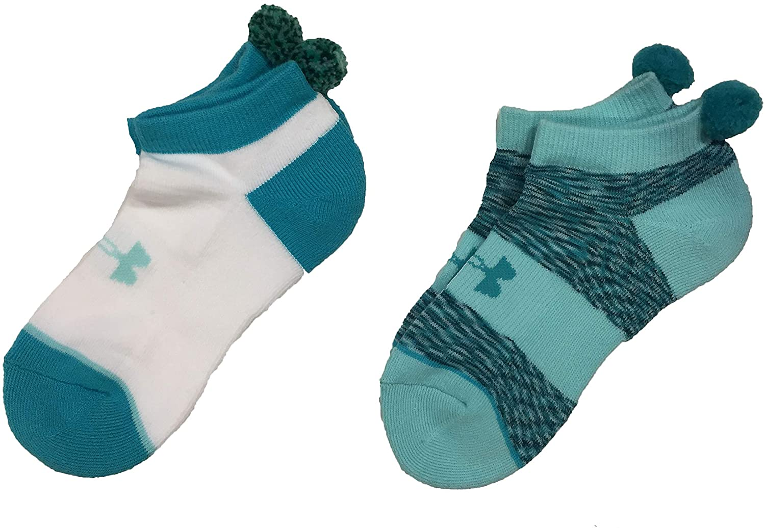 Under Armour Girl`s No Show Socks With Pom Pom 2 Pack