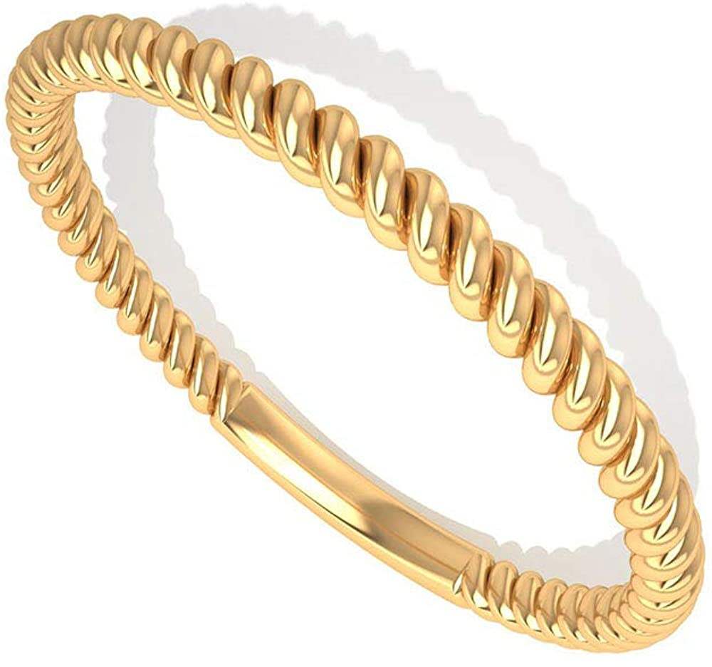 Solid 14k Gold Twisted Wedding Anniversary Band, Minimal Stackable Thin Braided Bridal Ring Sets, Mother Birthday Matching Promise Rings Gifts for Her, 14K Yellow Gold, Size:US 7.5
