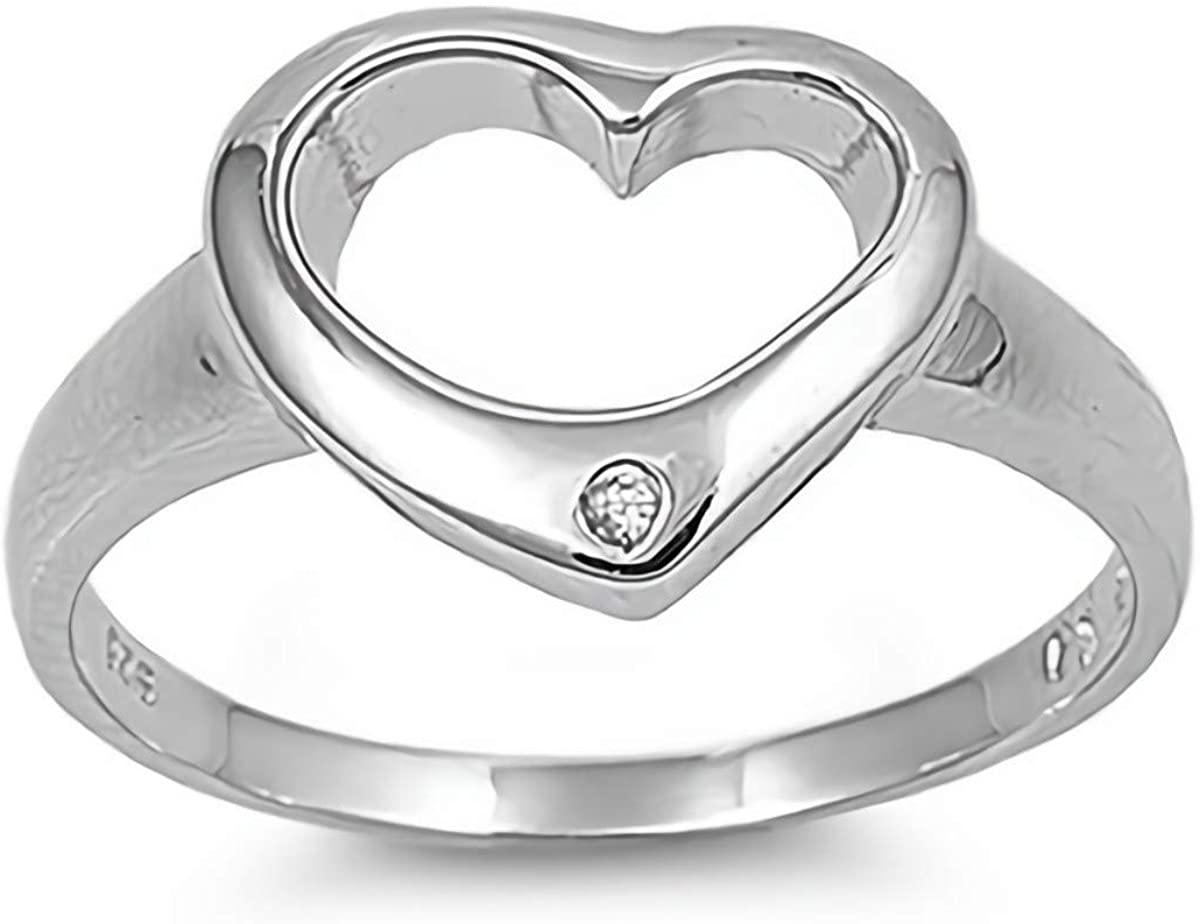 Glitzs Jewels 925 Sterling Silver CZ Ring (Clear/Heart) | Cubic Zirconia Jewelry Gift