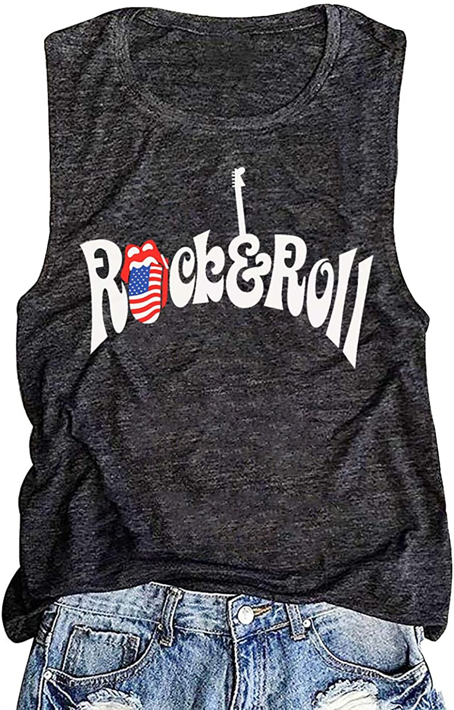 Rock and Roll Tank Tops for Women Guitars Music Tank USA Flag Graphic 4th of July Shirt Casual Sleeveless Vest Tee