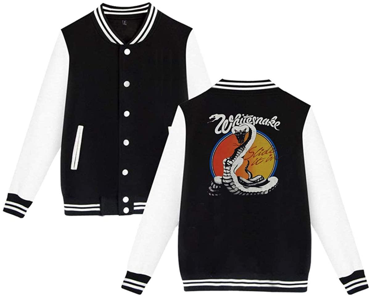 BAOVSYC Whitesnake Slide It in Tour Concert Unisex Baseball Jacket Varsity Jacket Black
