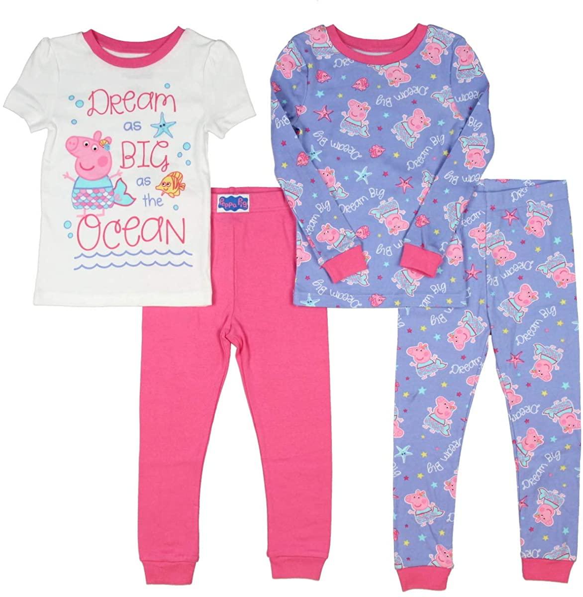 Peppa Pig Toddler Girls Pajamas Dream Big 4pc Mix and Match Sleepwear Set