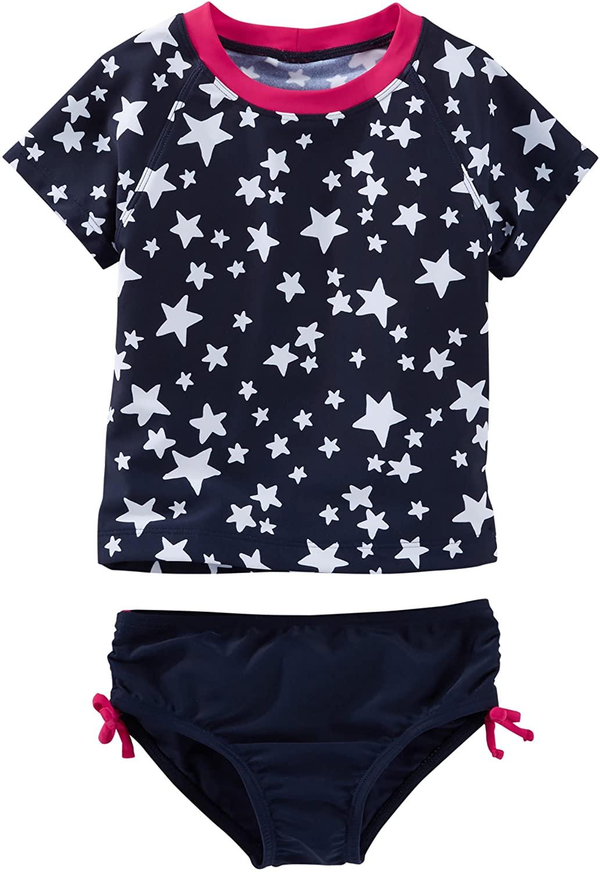 OshKosh Girls Star Print Rashguard Set, Navy, 4
