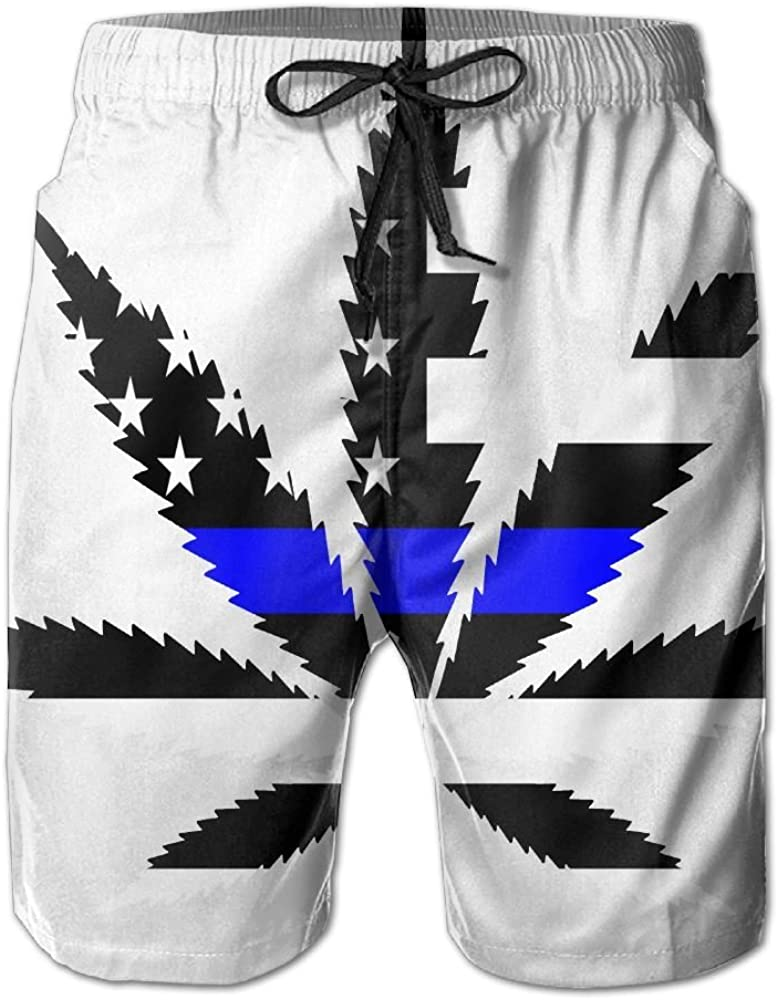 TO-JP 3D Printing Beach Shorts Blue American Flag Weed Cannabis Swim Trunks