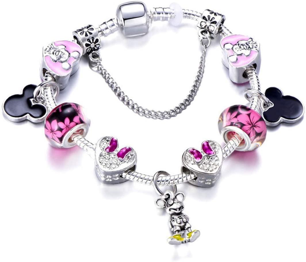 MIADEAL Mickey Minnie Mouse Charms Bracelet, Pink, Girls Womens Kids Jewelry