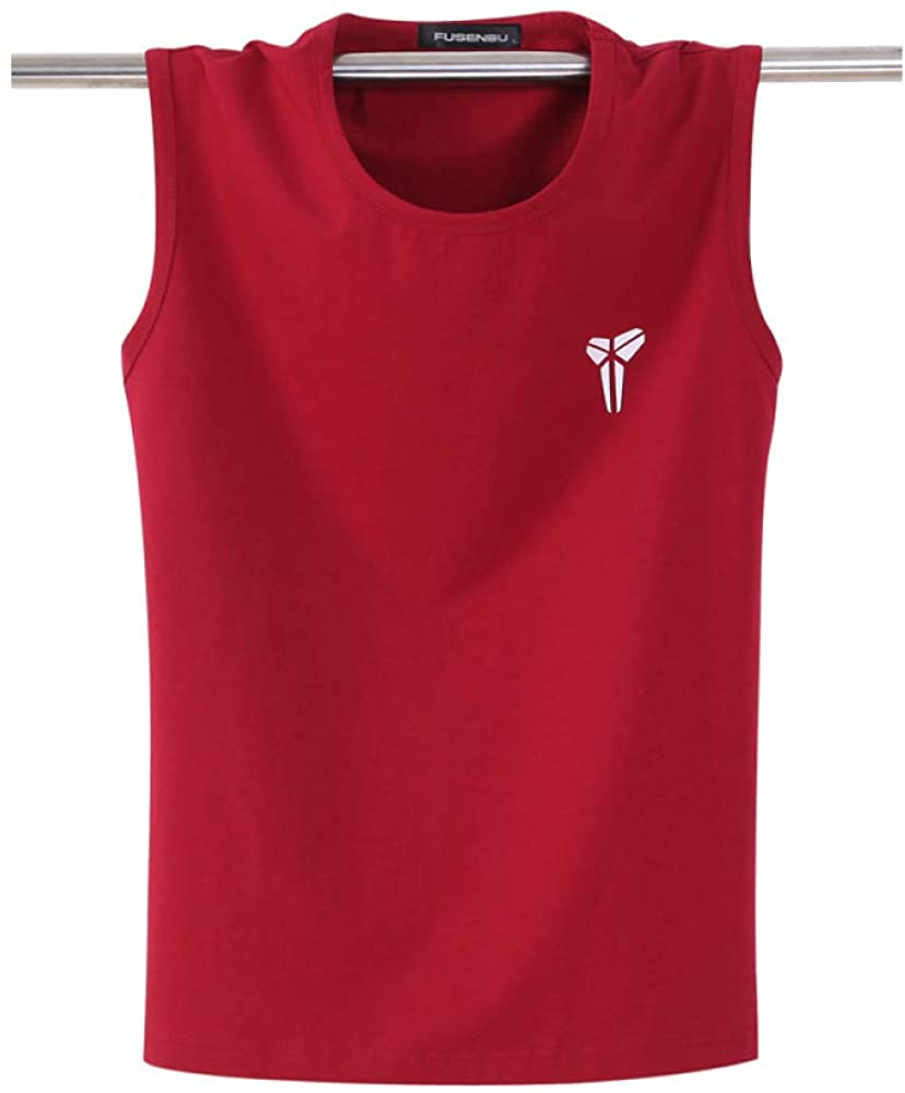 HOSD Summer Men's Cotton Vest Loose Large Size Sleeveless t-Shirt Sports Fitness Red Wine