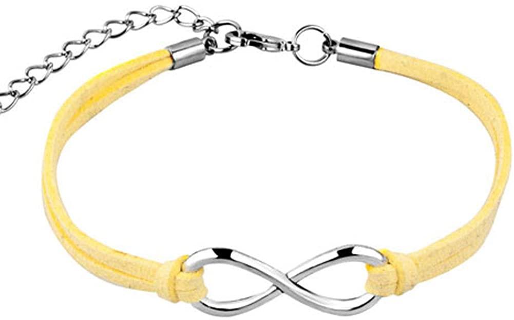 EV.YI Jewels Birthday Color Braided April Yellow Infinity Leather Bracelet