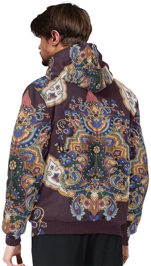 Nanlili Mens Long-Sleeve Full Zip Mandala mandalaPrinted Fleece Sherpa Hooded Jacket Sweater Thermal Lined Hoodie Coats with Hood White XL