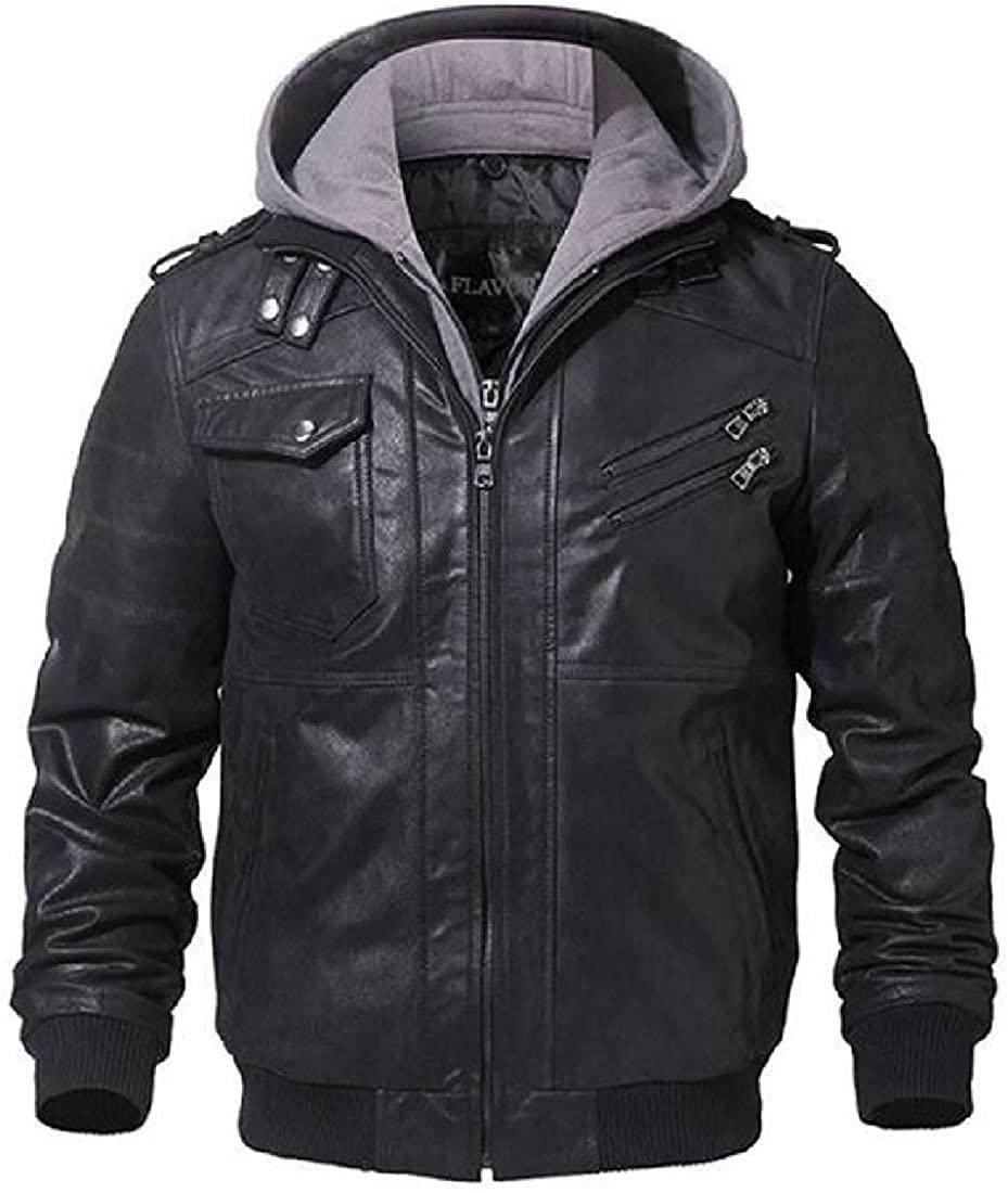 Aysselt Men Faux Pu Jackets Outdoor Loose Fit Warm Zip Up Motorcycle Jacket Coat,Black,US-2XL