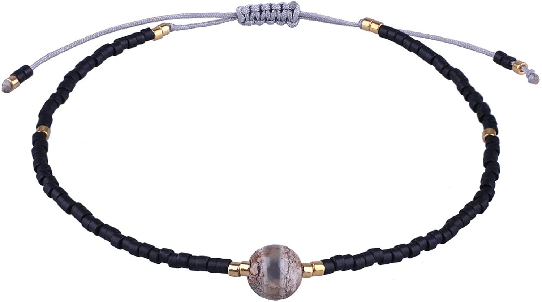 KELITCH Seed Beads Friendship Bracelets Handmade Agate Strand Bracelets Adjustable for Women Girls Fashion Jewelry
