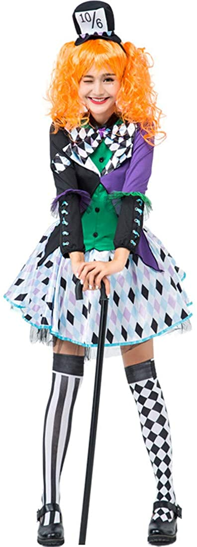 New Dream Alice Mad Hat Cosplay Costume Female Split Plaid Clown Party Suit