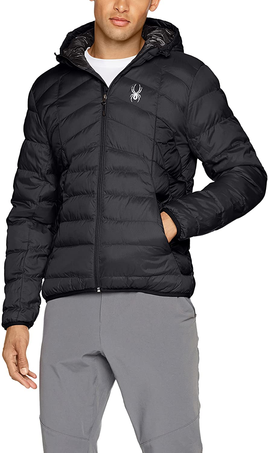 Spyder Mens Geared Hoody Synthetic Down Jacket, Black/Black, X-Large