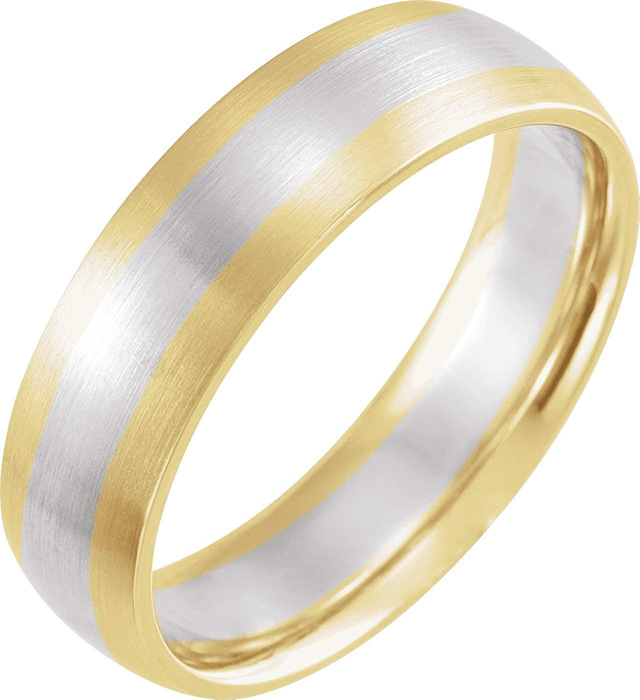 6 mm Half Round Band with Satin Finish Solid 14K Rose/White/Yellow Gold