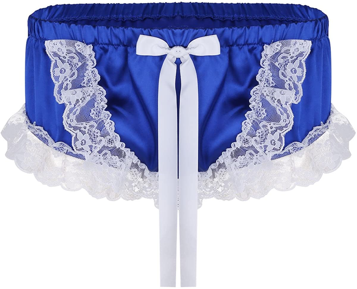 CHICTRY Men's Boxer Briefs Satin Silky Underwear Lace Frilly Ruffles Sissy Panties Underpants