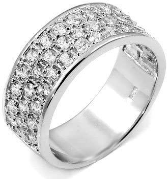 Titanium Kay Sterling Silver 3 Rows Half Eternity Championship CZ Ring