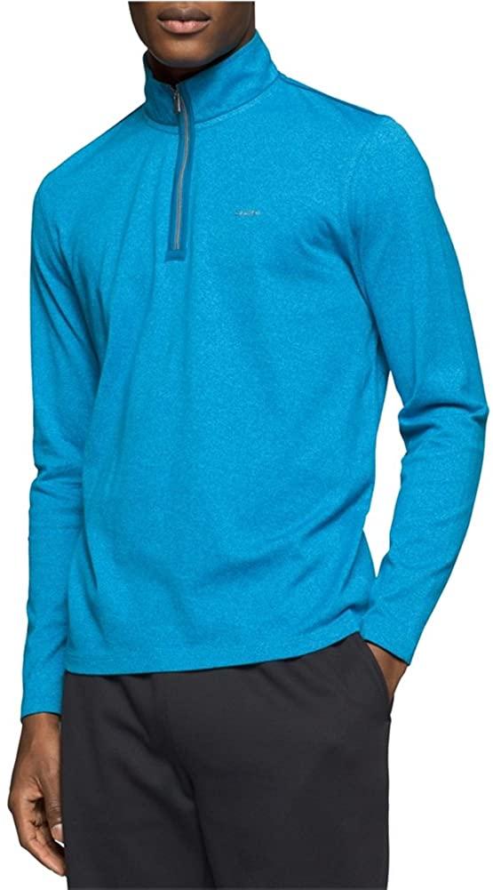 Calvin Klein Mens 1/4 Zip Heathered Pullover Sweater