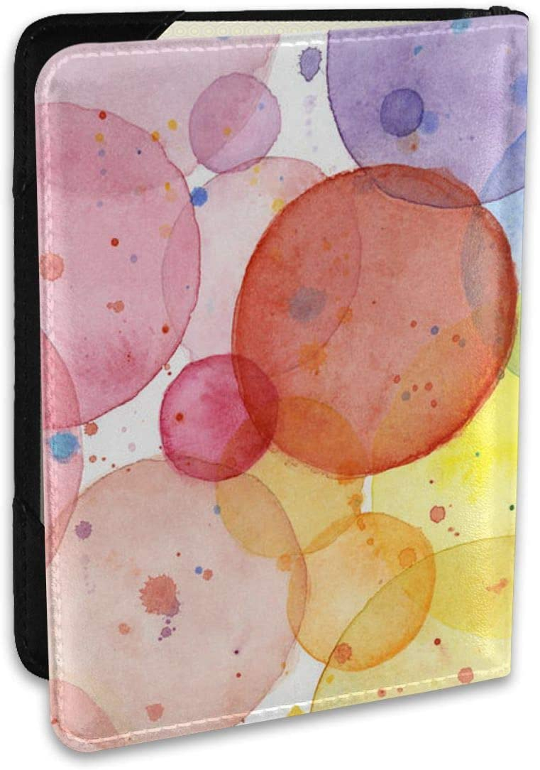 Passport Covers, Passport Wallet And Passport Holder Cover Wallet For Women Men-Travel Accessories Abstract-Watercolor-Rainbow-Circles
