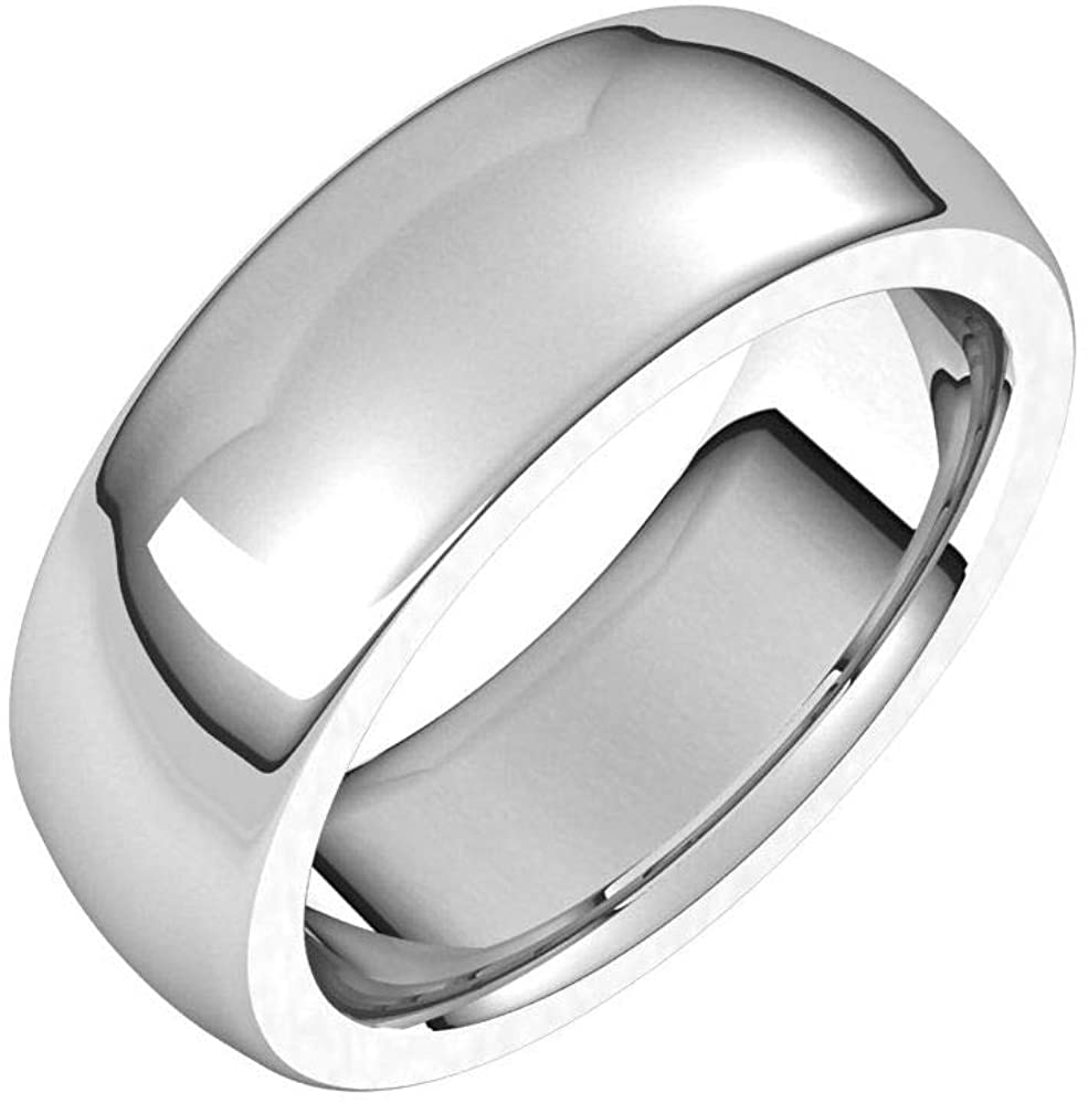 Solid Palladium 7mm Half Round Comfort Fit Heavy Wedding Band Size 7.5