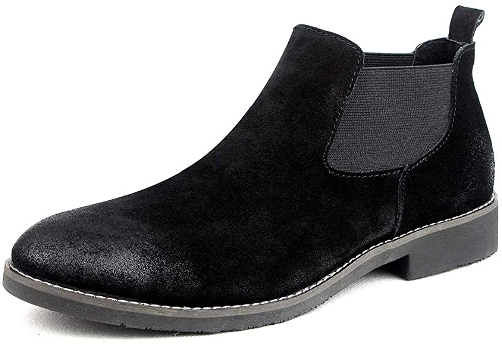 Saintsbase Chelsea Slip-on Suede Boots for Men Genuine Leather Chukka Boots, Formal Dress Boots,Waterproof Casual Oxford Dress, Work Casual Boots Men, Ankle Bootie Khaki Black