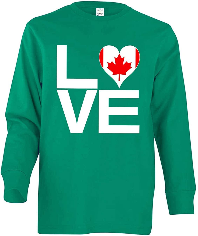 Tenacitee Girl's Youth Love Block Canada Heart Long Sleeve T-Shirt
