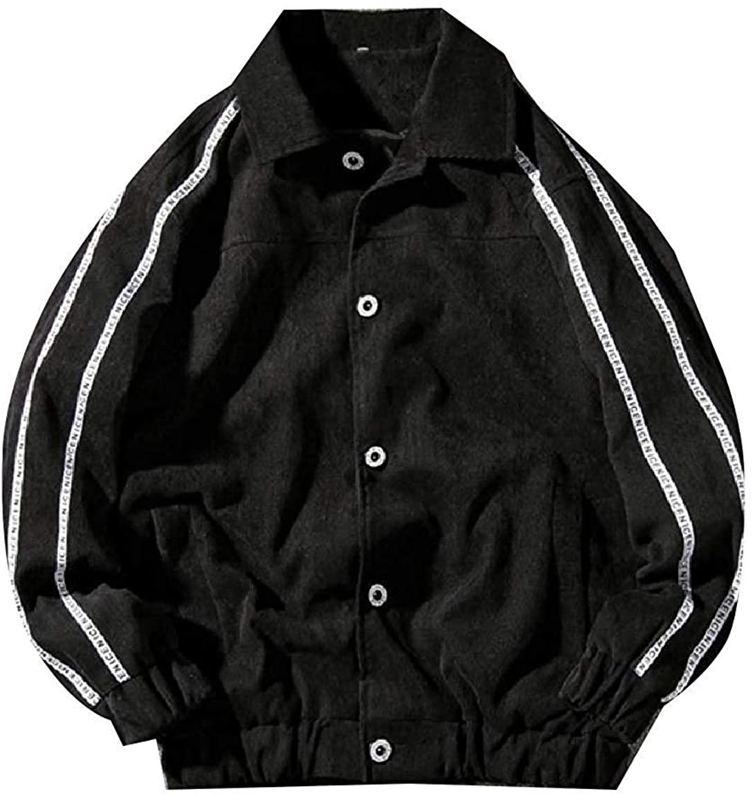 Men Simple Down Turn Buckle Slim Collar Warm Plus Size Outwear Jacket,Black,US M=China L