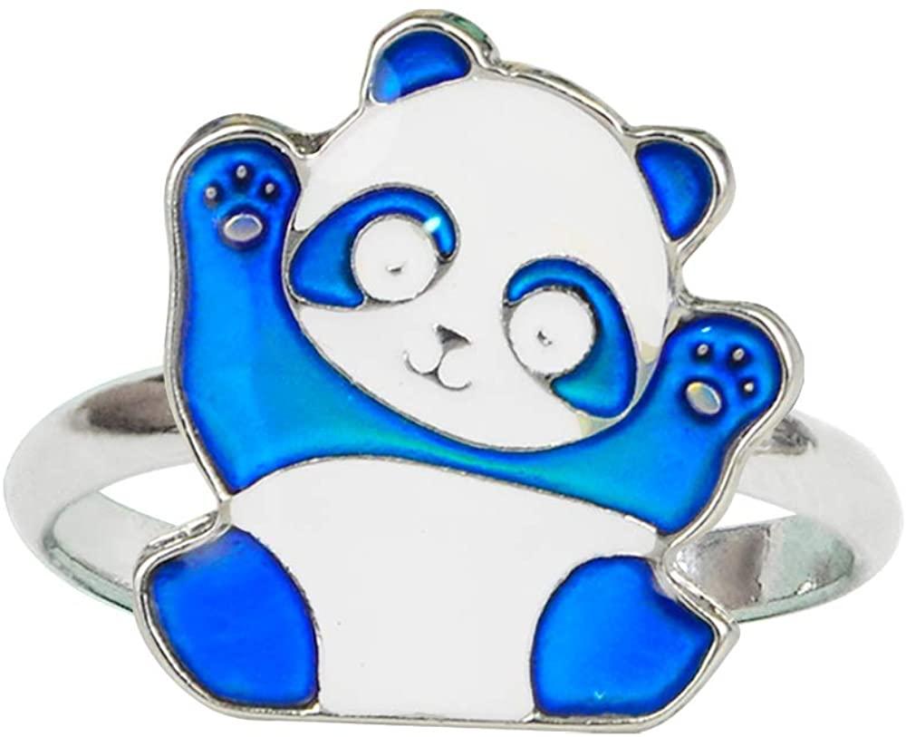 Fun Jewels Cute Panda Bear Color Change Animal Mood Ring Gift for Boys Girls Size Adjustable