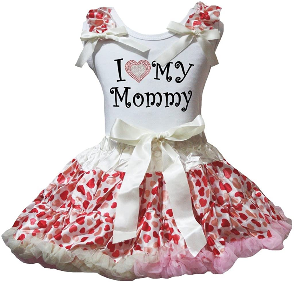 Petitebella I Love My Mommy White Shirt Beige Pink Hearts Petti Skirt 1-8y