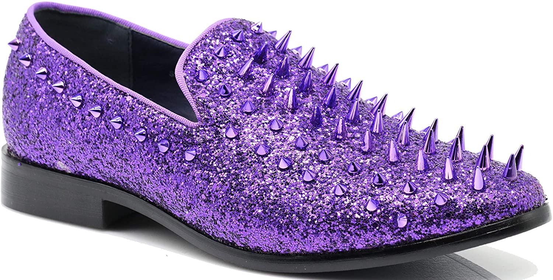 SPK16 Men's Vintage Spike Dress Loafers Slip On Fashion Shoes Classic Tuxedo Dress Shoes (9 D(M) US, Purple)
