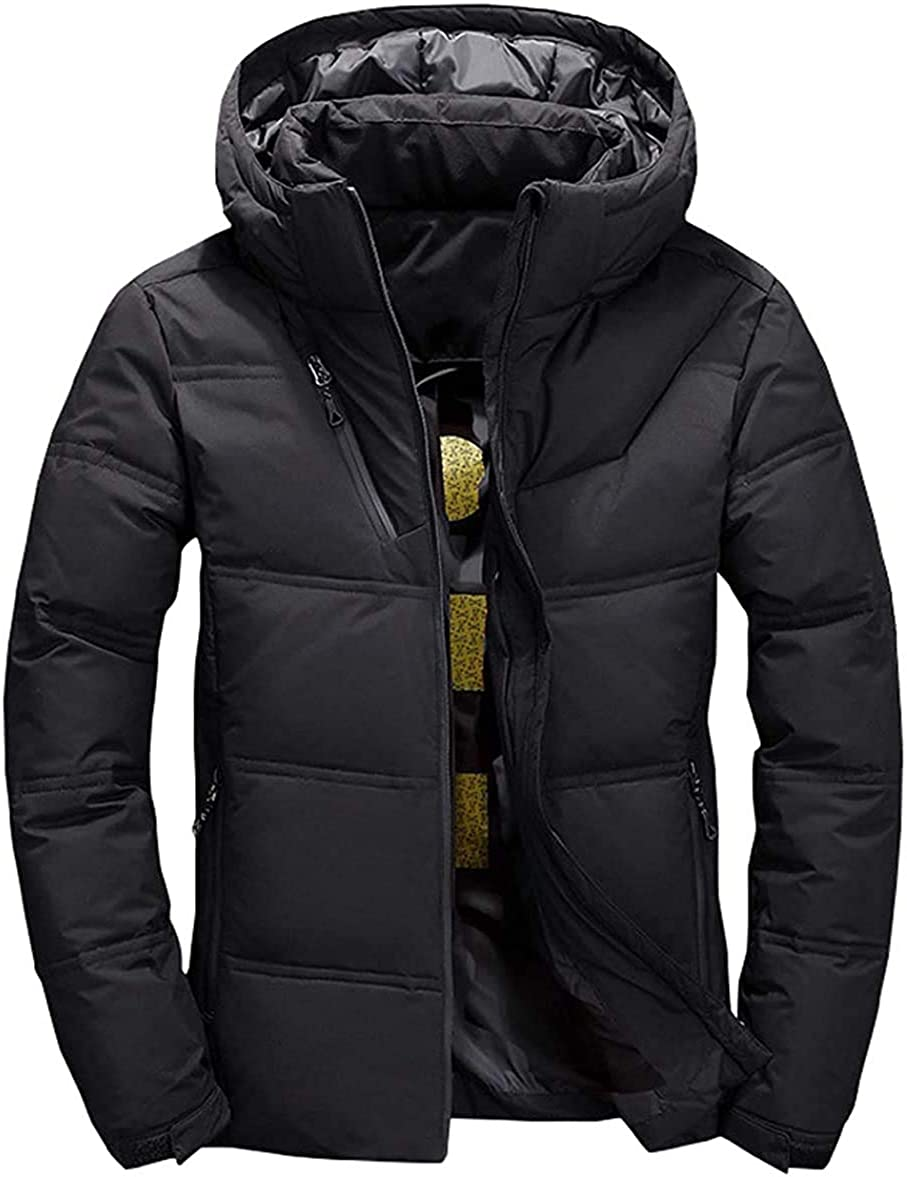 Mens Winter Quilted Removable Hooded Alternative Down Jacket Coat