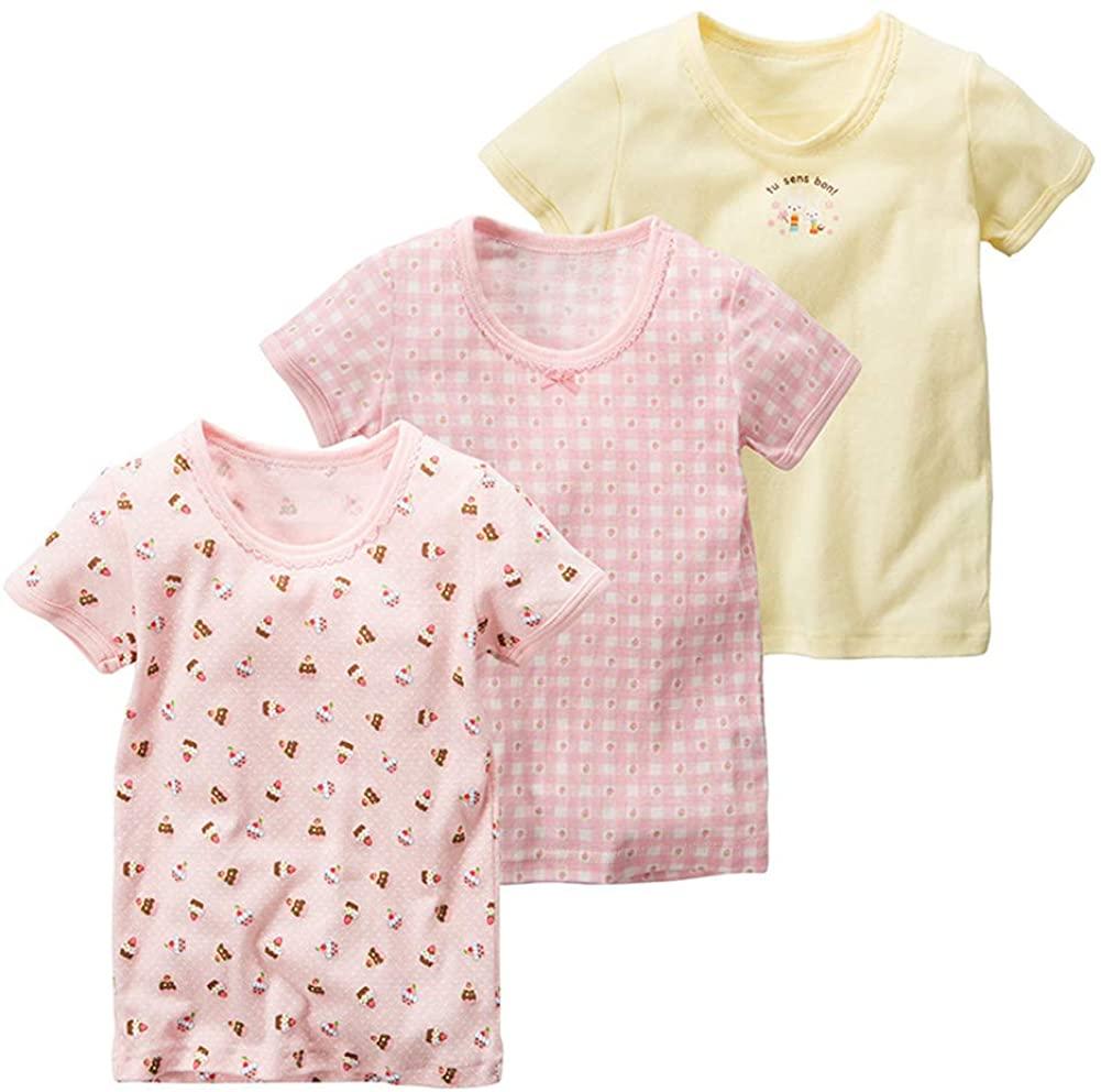 Flenwgo Toldder Girls Cotton T-Shirt Kids Short Sleeve Crewneck 3-Pack Tee Shirts