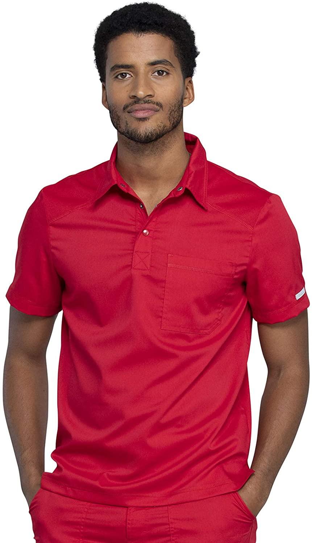CHEROKEE Workwear WW Revolution Men's Men's Polo Shirt, WW615, M, Red