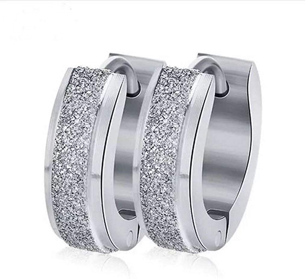 UPRIMOR Highly Polished Shinny Stainless Steel Glitter Huggie Hinged Hoop Earrings for Women and Men